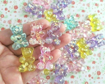 Princess Cabochons #1540 8 Pale Lavender Purple Pastel Glitter Crowned Bear Cabochons