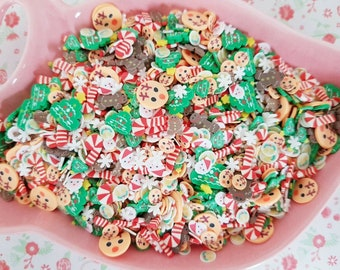 10g/20g Quality Christmas Mix Holiday Reindeer Gingerbread Candy Fimo Clay Slices Sprinkles Decoden Slime Nail Art CRAFT UK *Not Edible*