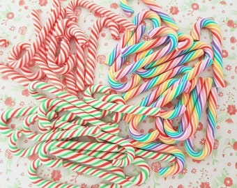 3/5/8 Large Christmas Rainbow Swirly Candy Cane Polymer Clay Embellishment Cabochon Craft Decoden Charms DIY *NOT Edible*