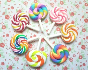 2/4 Quality Rainbow Swirly Candy Lollipop Sweet Polymer Clay Embellishment Decoden Cabochon Crafts Charm DIY UK *NOT Edible*