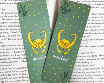 Loki Bookmark   Paper Bookmark, Graduation Gift, Booklover Gift, Gift for Bookworm, Loki Merch, Illustrated Bookmark, Printed on Both Sides