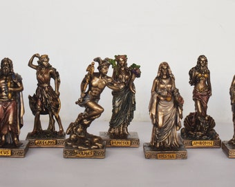 Set of theTwelve Olympians - Principal Gods of the Greek Pantheon - Ancient Greek and Roman Religion - Miniatures - Cold Cast Bronze Resin