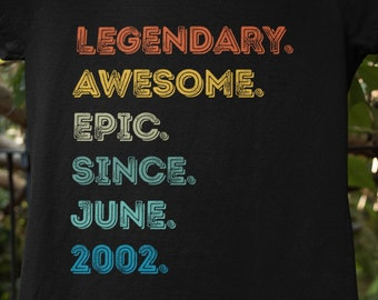 Gift Present T Shirt 18th BIRTHDAY 2020 AWESOME SINCE 2002 Fun NEW