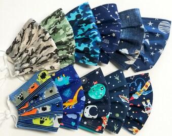Kinder Mundschutz, Schulkinder Behelfsmaske, Weltraum Monster Stoffmaske, Einschulung Geschenk