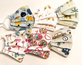 Gesichtsmaske für Schulkinder, Stoffmaske aus Baumwolle, Tiermotive Kinder Mundbedeckung, Einschulung