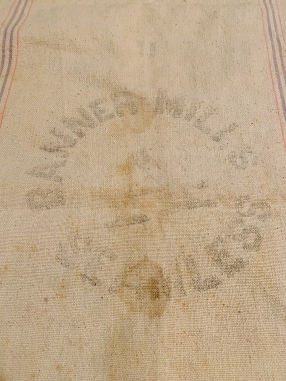 Antique heavy weight feed sack Banner Mills Seamle