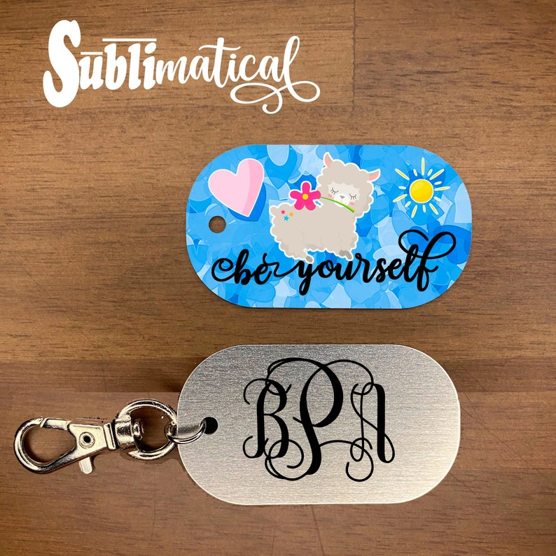 Personalized w your Name OR Monogram Dog Tag w Swivel Lobster Claw Llama Love Sunshine Custom Personalized Be Yourself Llama Keychain