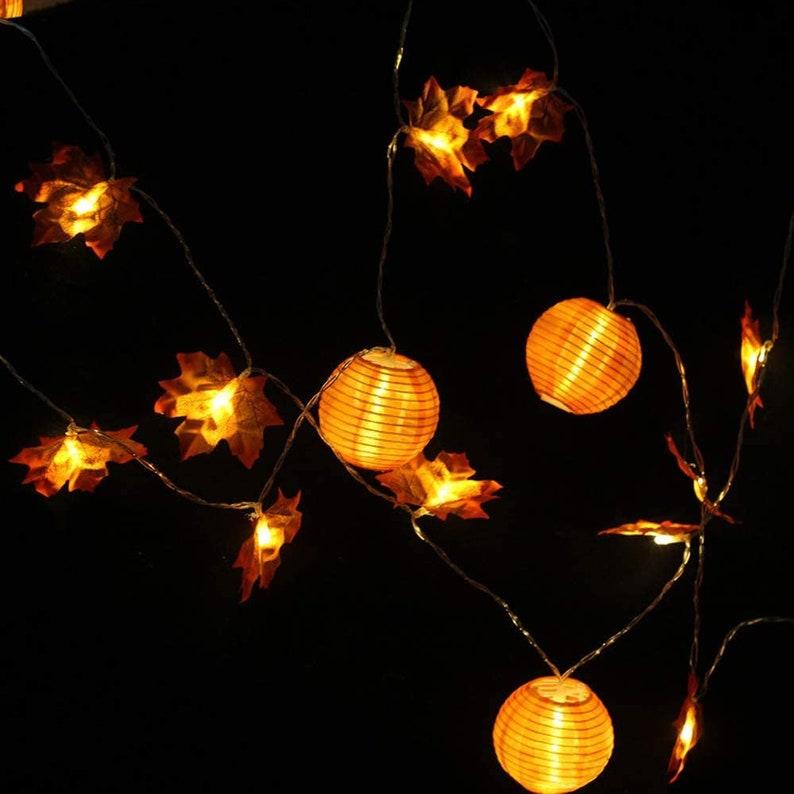 LED Maple Leaf And Lantern Battery Thanksgiving String Lights
