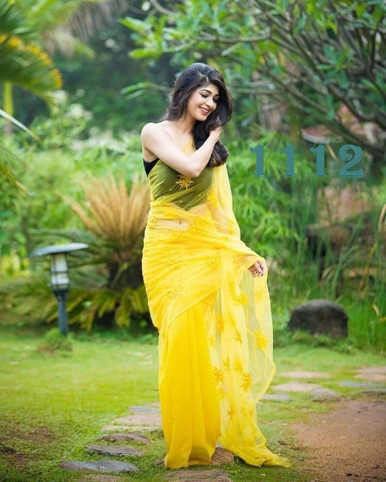 Yellow Georgette Heavy Full Moti /& Embroidered Designer Saree With Unstitched Plain Running Blouse For Women,Party,Wedding Wear Sari