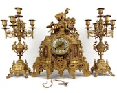 Antique Brass Mantle Clock and Candle Holders Set With German Mechanism, Art Nouveau Mantle Table Clock With Pair Candlesticks