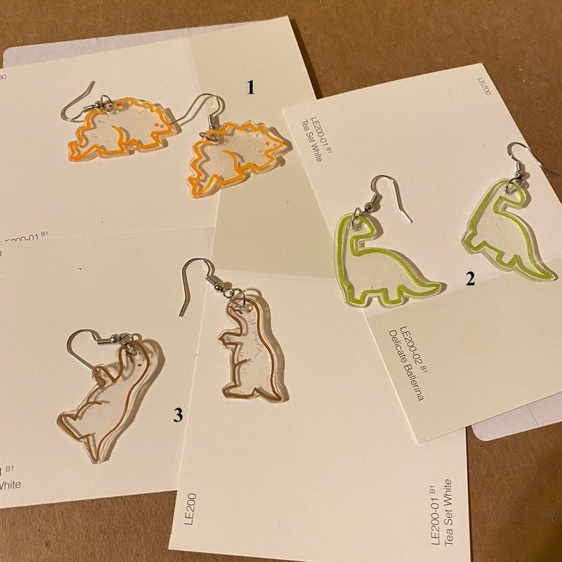 Dinosaur Silhouette Dangle Drop Earrings Jewelry Cute Accessory Dinosaur Cartoon Outline Earrings