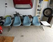 RARE Vintage Midcentury Modern Fiberglass Seating Bench with Side Table Charles Eames for Herman Miller Vitra Original Designer Piece