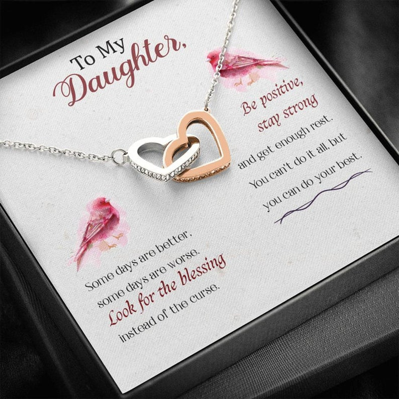 Personalized Necklace With Message Card To Daughter Be Positive Love From Mom Interlocking Hearts Necklace In Surgical Steel 18