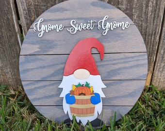 Gnome Sweet Gnome Sign - Interchangeable Monthly SVG