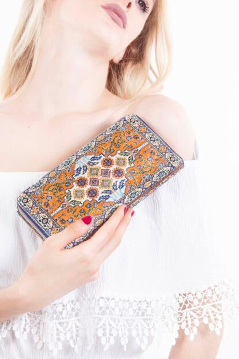 Coin Purse Orange Wallet Women Ratten Bags For Women Patterned  Woven