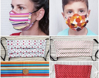 Iris Luckhaus Pleated Cotton Hybrid Face Mask with nose wire and filter pocket, no fog, fun fabric