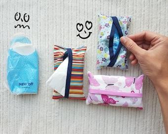 Pocket tissue holder, handmade, cotton fabric