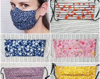 Iris Luckhaus Pleated Hybrid Cotton Face Mask with nose wire and filter pocket, no fog, flowers