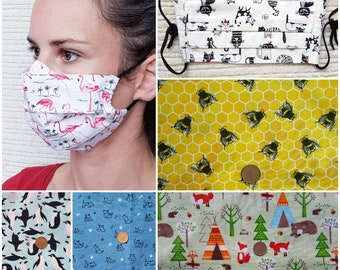 Iris Luckhaus Pleated Cotton Hybrid Face Mask with nose wire and filter pocket, no fog, animals