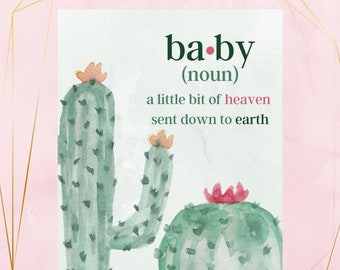 Baby Shower Sign Baby Cactus Decoration Shower Decorations- Digital Download! Baby Noun Decoration Cactus Baby Sign Baby Shower Signs