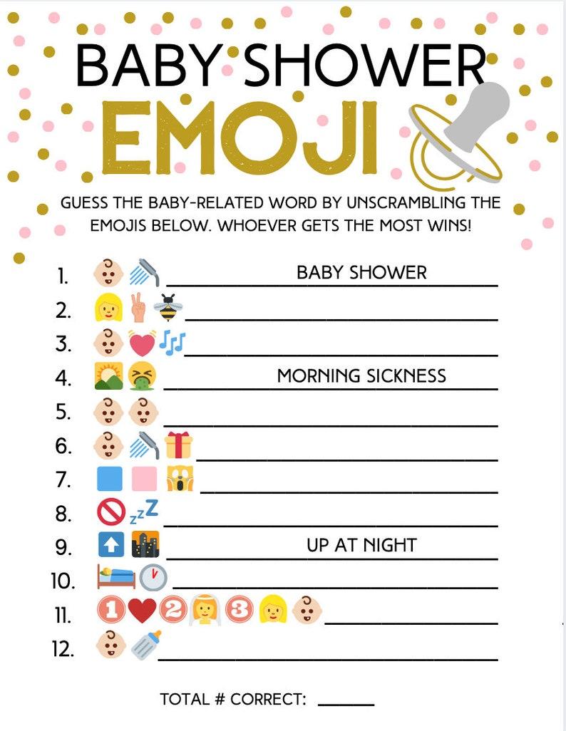 Emoji Baby Shower Game Answer Key Emoji Game Emoji | Etsy