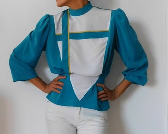 80s Bold Yellow and White Vertical Striped Long Sleeve Blouse; Amazing Collar Detail and Bold White Buttons From Neckline to Waistline