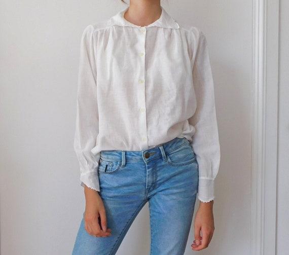 Vintage Cotton Gauche Blouse/Italian Off White Cot