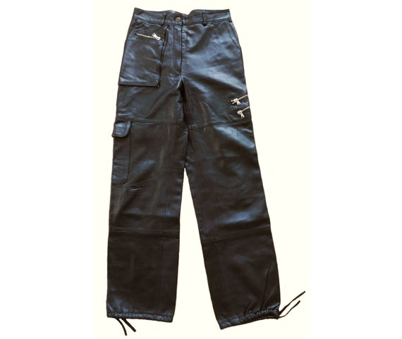 80s black leather pants/Relaxed Cargo Pants