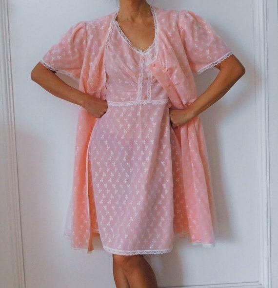 50s Lingerie/Pink Salmon Night wear/ Lace Nightgow