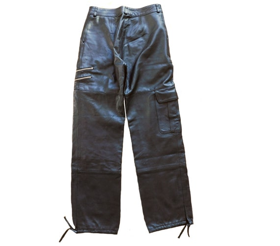 80s black leather pants/Relaxed Cargo Pants - image 2