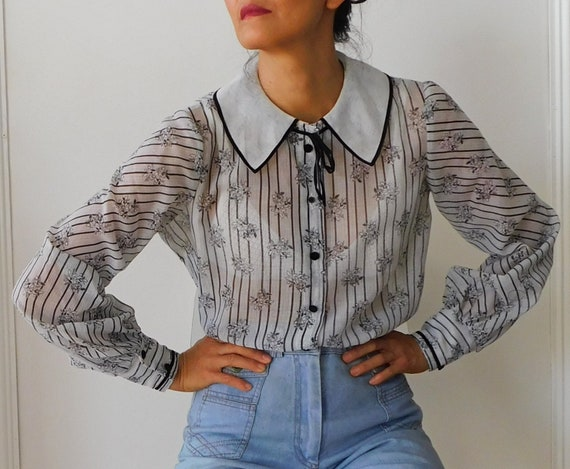 Black White Floral Stripes  Blouse/70s Secretary B