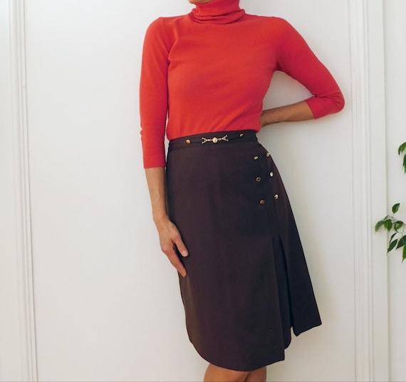 80s Brown Skirt/French Vintage/Vintage Pencil Skir