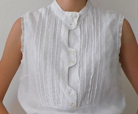 White Cotton Drawstring Blouse/90s Sleeveless Blou