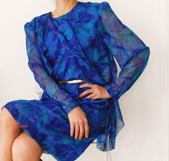 80s Cape Dress/Chiffon Blue Floral Dress/ Long sle