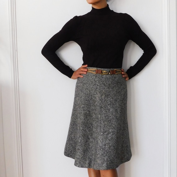 60s Wool Tweed A line Skirt/French Vintage/Knee Le