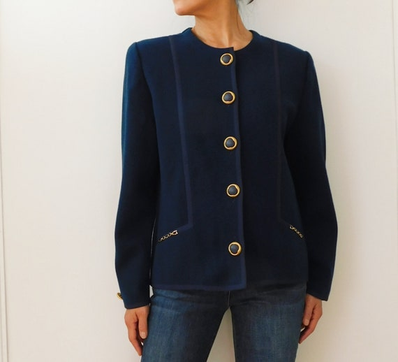 80s DEVERNOIS/French Vintage/Blue Navy Cardigan/Wo