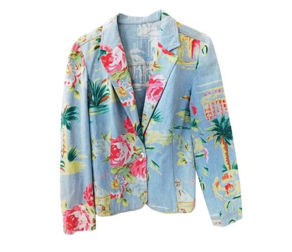80s Blue Denim Blazer/French Vintage/Floral Print