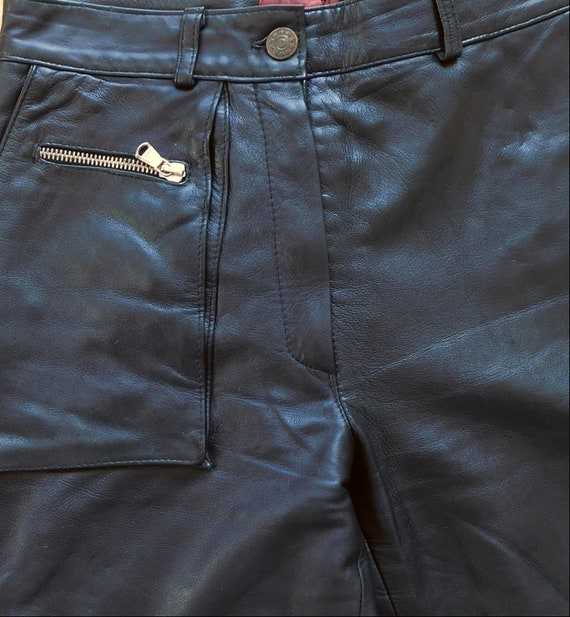80s black leather pants/Relaxed Cargo Pants - image 3