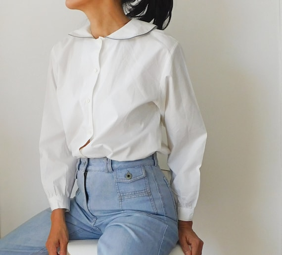 Peter Pan Collar Blouse/70s White Cotton Blouse