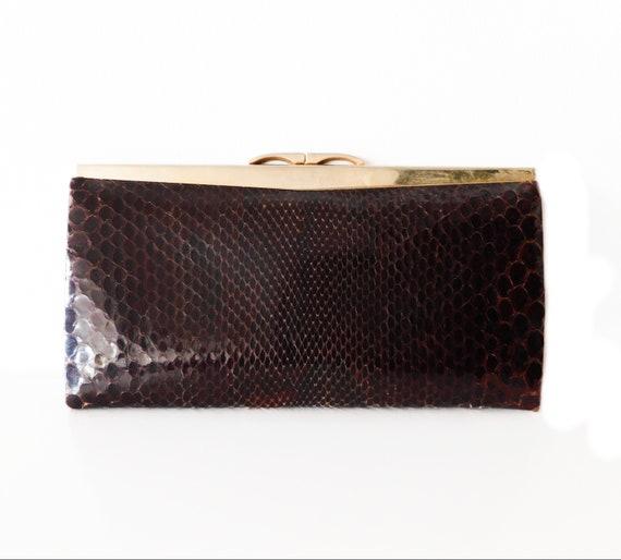 50s Snake Skin Clutch/ Vintage Leather Bag/Vintage