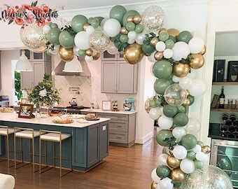 Retro Green and Gold Balloon Garland Kit, Ballon Arch Kit, Green Gold and White Arch Kit, Engagement Balloon Arch,  Party Decor