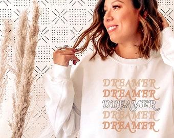 Retro Dreamer Cozy Sweatshirt, Fall Sweatshirt, Oversized Sweatshirt, Crewneck Sweatshirt, Boho Aesthetic Sweater, Cozy Sweater