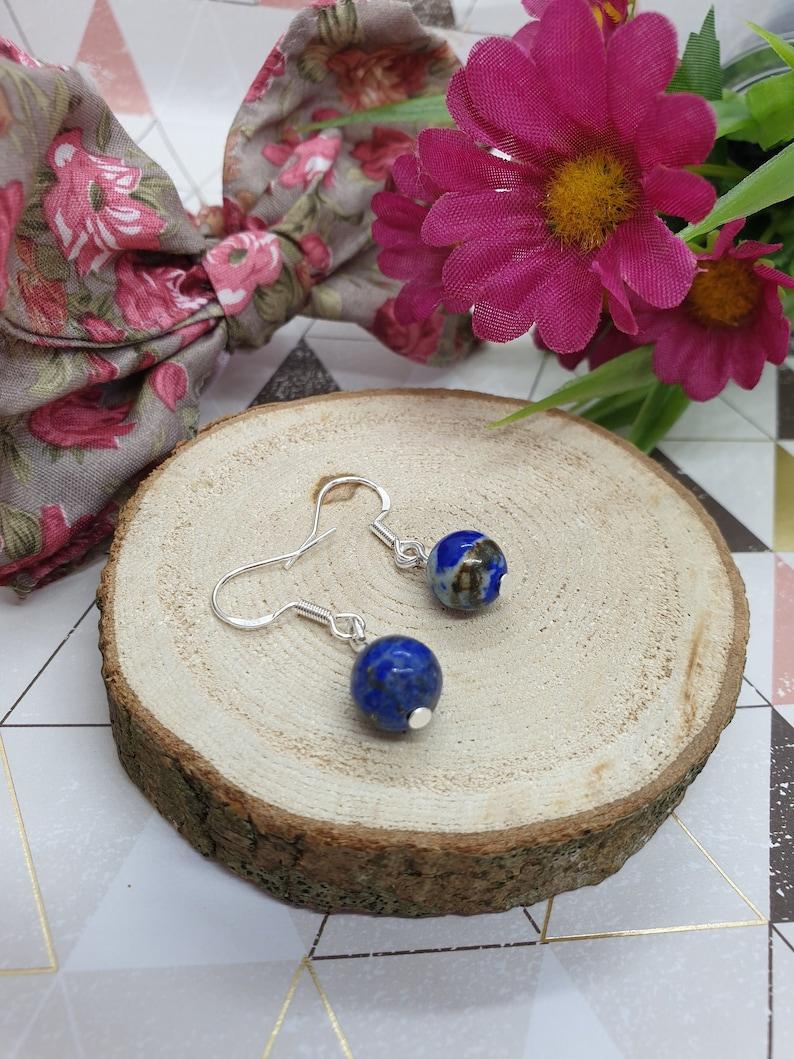 Self Care Gift Natural Gemstone Beads Self Awareness Silver Earrings Lapis Lazuli Earrings Blue Lapis Earrings Simple Dangle Earrings