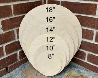 """Unfinished 1/4""""  Birch Wood Circle   DIY Sign   Blank Circle Board   Wood Sign for Crafts   Supplies   Door Sign   6"""" 8"""" 10"""" 12"""" 14"""" 16"""" 18"""""""