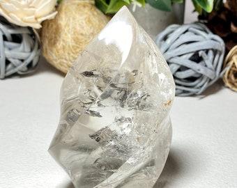 Clear Quartz Crystal Polished Flame - Manifesting, Amplifying Energy