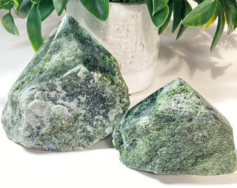 Diopside in Quartz Crystal Top Polished Points - Forgiveness, Compassion