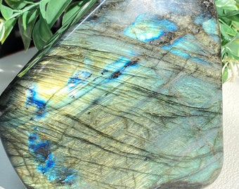 "Labradorite Crystal Free Form - 5.25""h x 4""w - Insane Green Flash - Transformation, Cosmic Destiny, Curiosity"