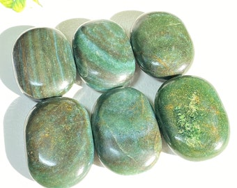 "Dark Geen Aventurine Crystal Large Palm Stone - 2.5"" x 2"" - Vitality, Confidence, Optimism"