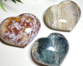 Ocean Jasper Crystal Puffy Hearts -  Peace, Letting Go, Renewal