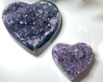 Amethyst Druzy Crystal Hearts - Protection, Cleansing, Intuition